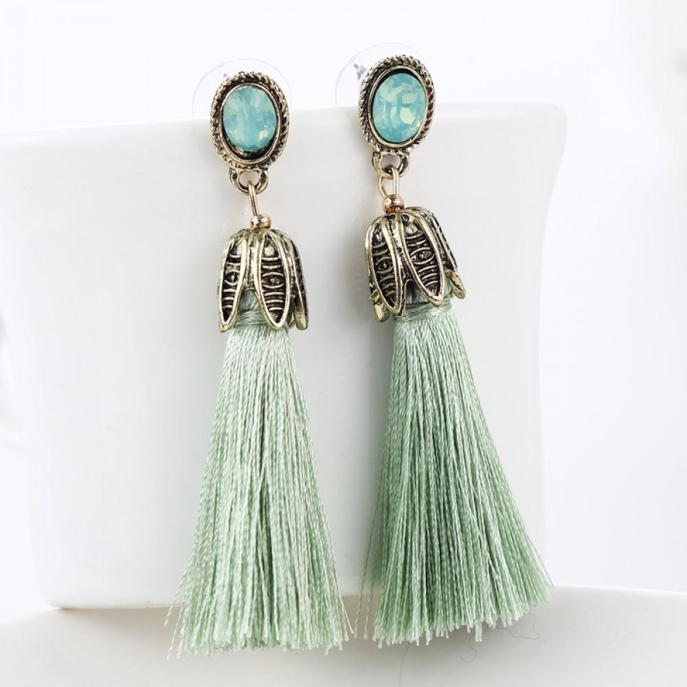 wine opal tassel drop statement earrings