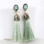 Wine Red Opal Crystal Tassel Drop Statement Earrings
