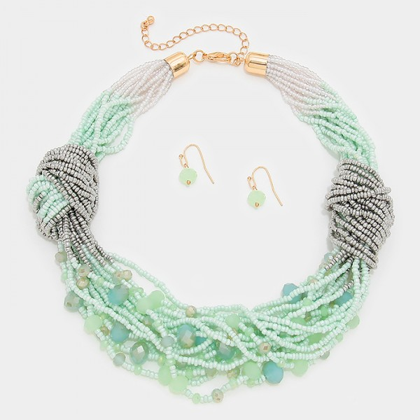 Twisted Seafoam Beaded Multi-Strand Statement Necklace