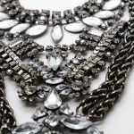 Boho Warrior Crystal Encrusted Hematite Statement Necklace