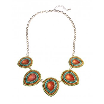 Tropic Punch Bead Encrusted Teardrop Necklace