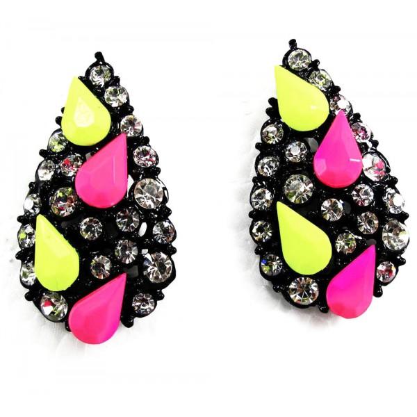 cb47516306335 Rainbow Confetti Neon Teardrop Stud Earrings