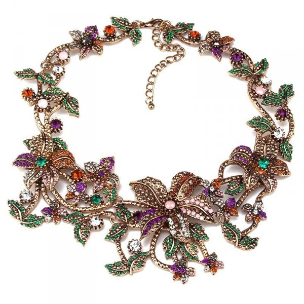 Vogue Multicolored Embellished Lilys Statement Necklace