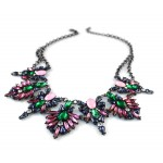Multicolored Crystal Wreath Bib Necklace