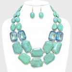 Green Indian Marble Fragment Double Row Statement Necklace