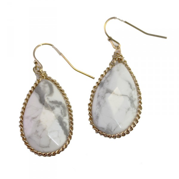 Theon Howlite White Marble Teardrop Stone Earrings