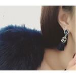 Teardrop Crystal Navy Tassel Drop Statement Earrings Pre-order