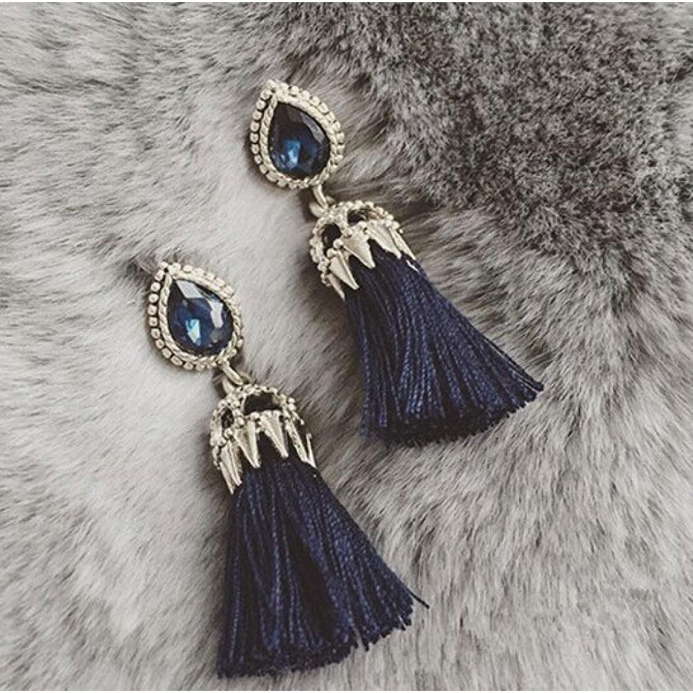 Sold Out Teardrop Crystal Navy Tassel Drop Statement Earrings Preorder