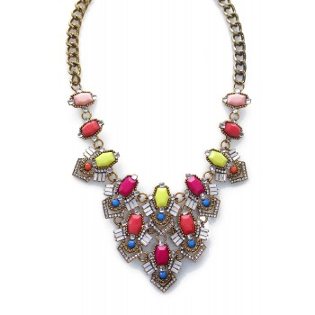 Candy Confetti Neon Art Deco Bib Necklace