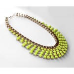 Neon Yellow Rays Tiered Chain Necklace