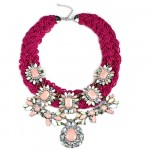 Fuchsia Beaded Opal Blush Marquise Stones Statement Necklace