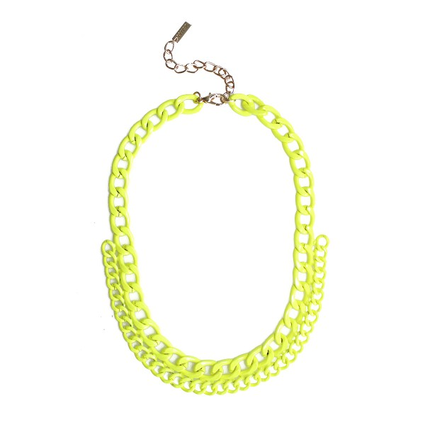 Neon Yellow Hand-painted Chain Necklace