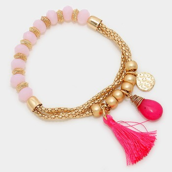 Rose Quartz Beads Hot Pink Tassel Bracelet