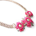 Neon Pink Daisy Bloom Statement Necklace