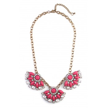 Hot Pink Crytal Flower Bauble Necklace