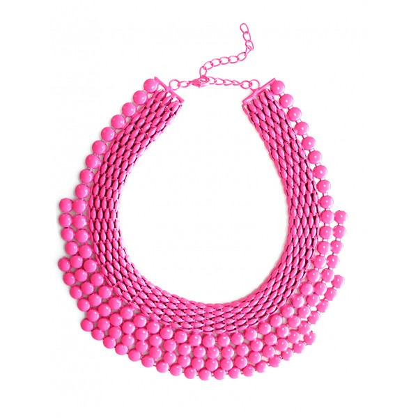 Neon Pink Stone Tiered Chain Bib Necklace