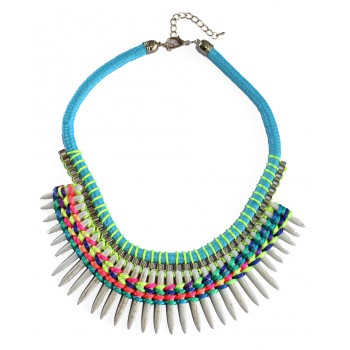 White Marble Spike Neon Threads Statement Necklace