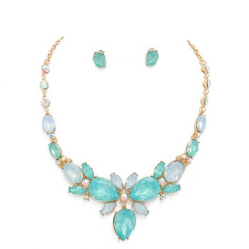 Pacific Opal Floral Gemstone Statement Necklace