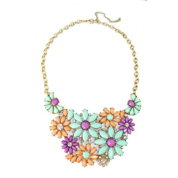 Summer Flower Bouquet Statement Necklace