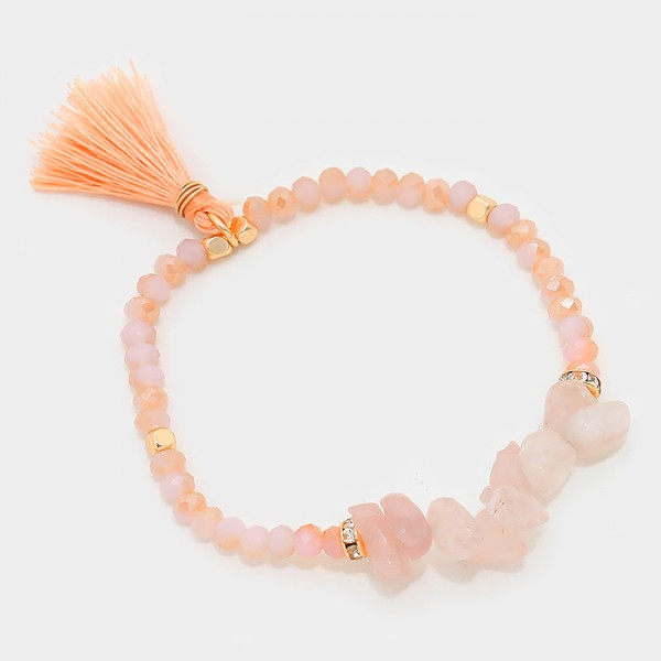 Coral Tassel Natural Stone Fragments Beaded Bracelet