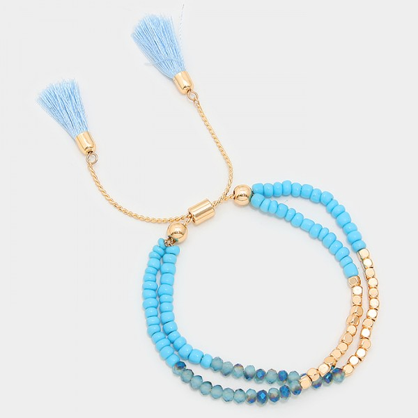 Ombre Blue Double Tassel Beaded Cinch Bracelet