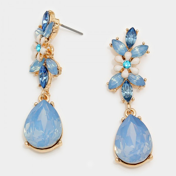 Opal Blue Flower Teardrop Earrings
