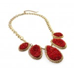 Red Stone Mojova Geode Druzy Bib Necklace