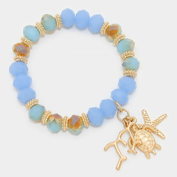 Sea Life Charm Faceted Beads Bracelet