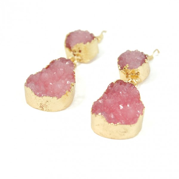 Rose Pink Quartz Teardrop Druzy Stone Earrings