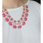 Rose Ombre Faceted Stone Cascade Statement Necklace