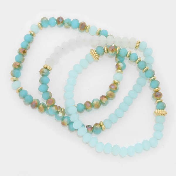 Seafoam Ombre Faceted Beaded Multi Strand Bracelets