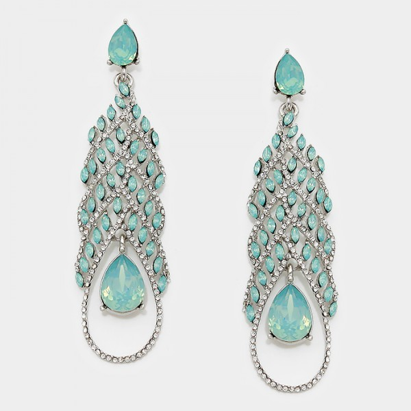 Pacific Opal Teardrop Tiered CZ Earrings