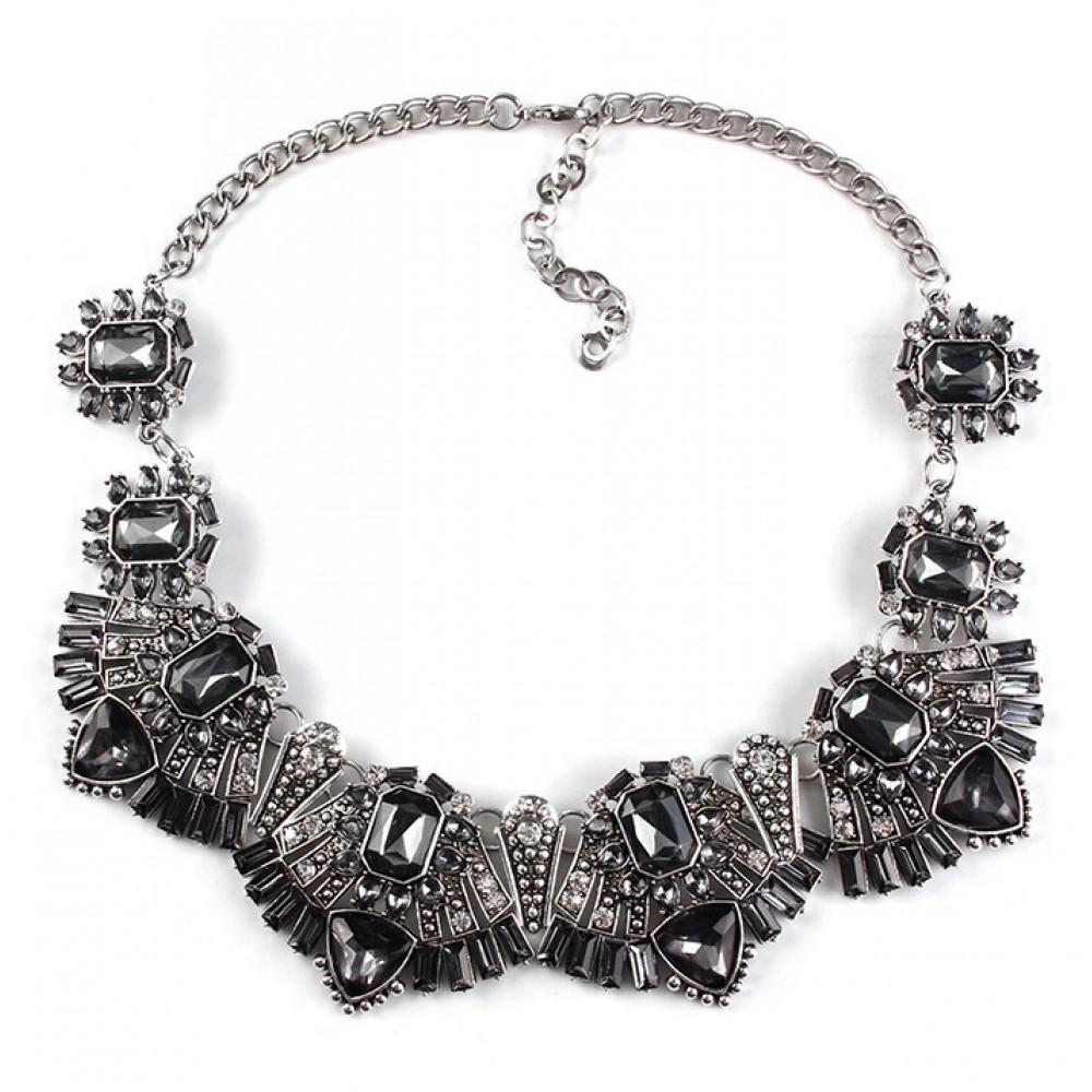 rene smokey grey deco statement bib necklace