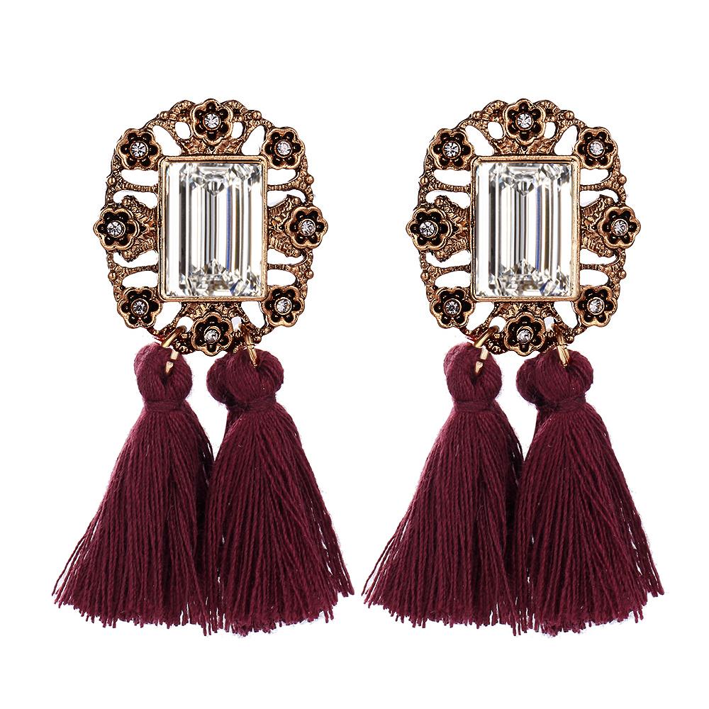 vintage navy tassel drop statement earrings