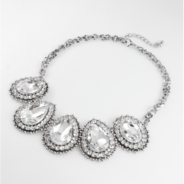 Ice Crystal Encrusted Waterdrop Statement Necklace