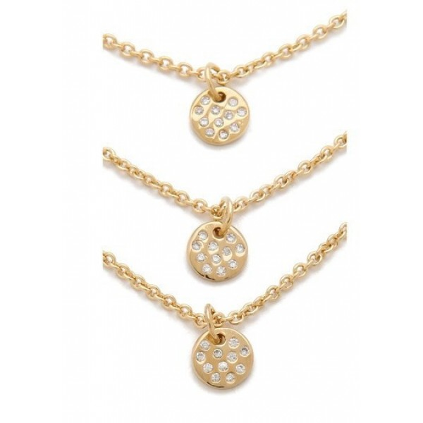 Pave Disc Trio Layering Dainty Necklace