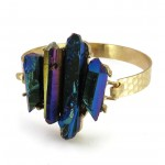 Titanium Rainbow Five Point Quartz Crystal Bracelet