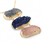 Kaira Trio Druzy Quartz Stone Long Necklace