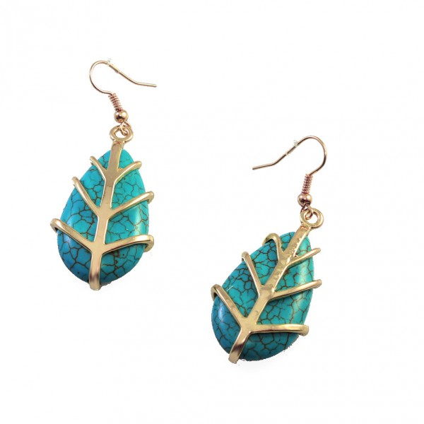 Theon Turquoise Teardrop Stone Earrings