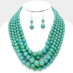 Natural Turquoise Howlite Multi Strand Beads Necklace