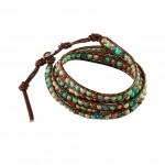 Natural Jasper Beads on Brown Leather Wrap Bracelet