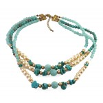 SOLEH Turquoise Beaded Three Strands Statement Necklace