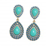 Teal Teardrop Cabochon Encrusted Statement Earrings
