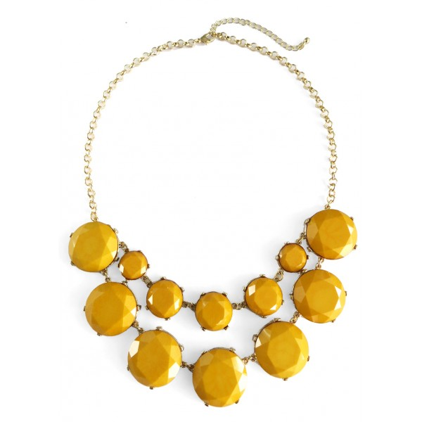 Mustard Yellow Marble Stone Bauble Box Necklace