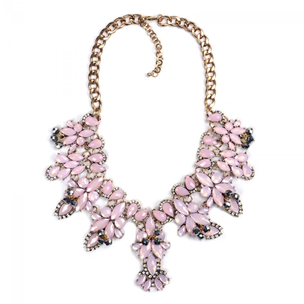 Dusty Rose Blush Faceted Marquise Rhinestone Statement Necklace ...