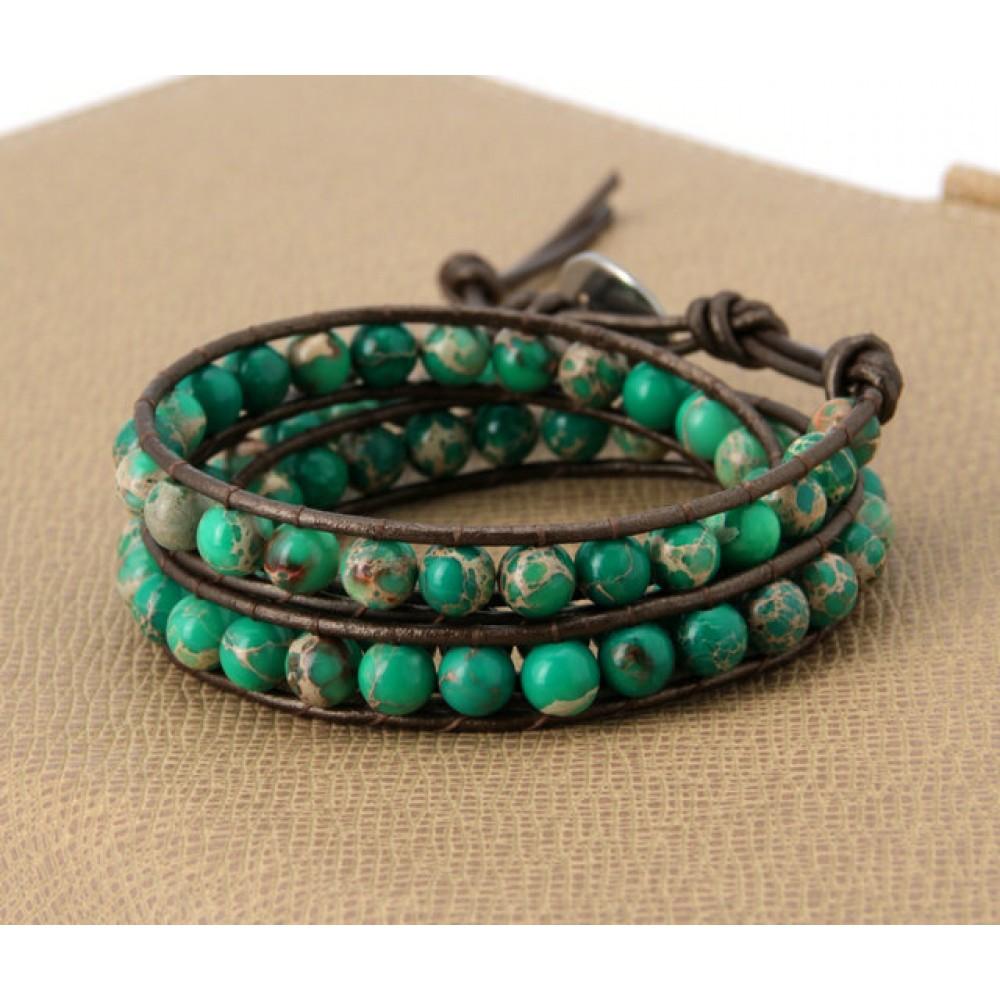 Green Jasper Stone On Brown Leather Wrap Bracelet