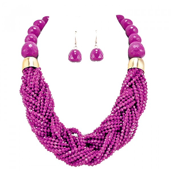 Hot Pink Braided Multi-strand Statement Necklace