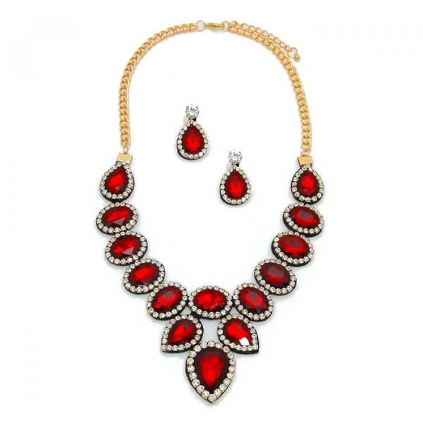 Ruby Red Crystal Felt Back Statement Necklace Set