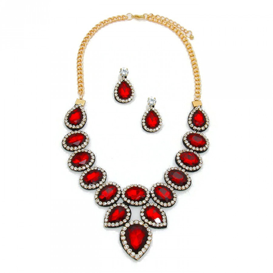 Ruby red crystal felt back statement necklace jewelry set ruby red crystal felt back statement necklace set aloadofball Image collections