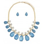 Icy Crystal Rhinestone Teardrop Statement Necklace Set